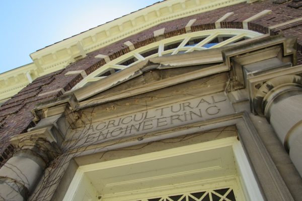 Photo of the front entrance to the Agricultural Engineering Building