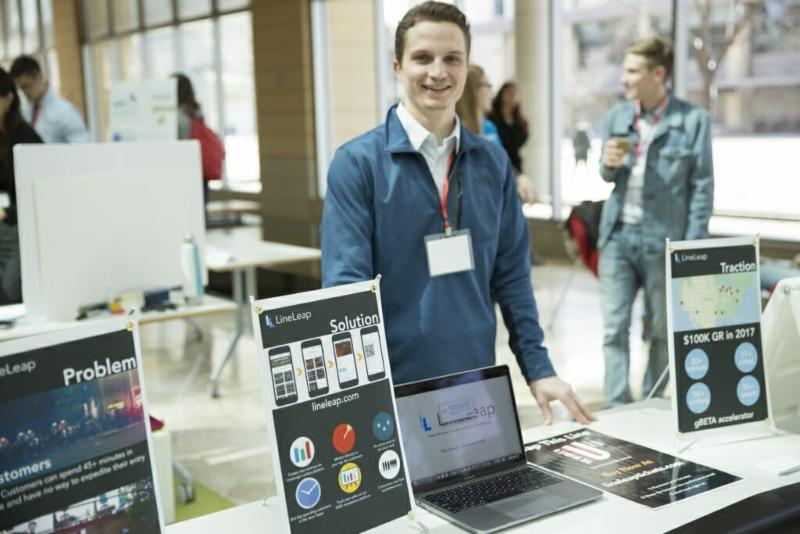 BSE student Max Schauff stands at his LineLeap booth